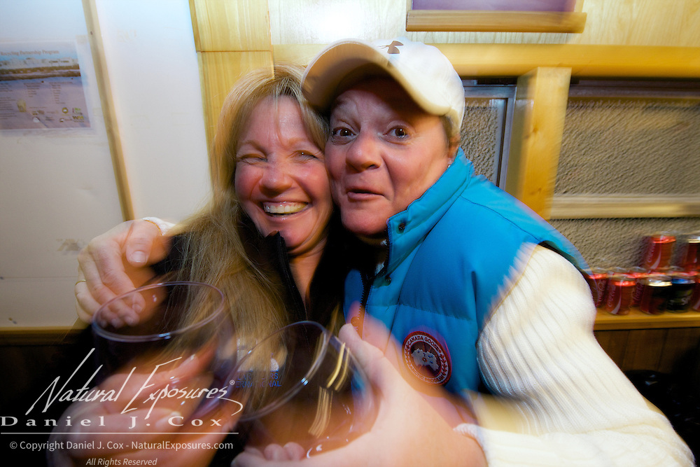 Nicky and Joanne ham it up during happy hour in the Tundra Buggy lodge. CApe Churchill 2012.