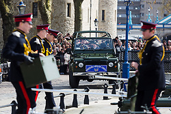 © Licensed to London News Pictures. 21/04/2016. London, UK. The Honourable Artillery Company (HAC) prepare to fire a 62 round gun salute at The Tower of London, near Tower Bridge to mark the 90th birthday of Great Britain's Queen Elizabeth II. A Royal Salute normally comprises 21 guns, but is increased to 41 if fired from a Royal Park or Residence and uniquely, at The Tower of London, a total of 62 rounds are fired on Royal anniversaries, including an additional 21 guns for the citizens of the City of London to show loyalty to the Monarch.  Photo credit : Vickie Flores/LNP