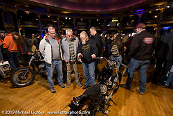 Mike Lange gets technical with visitors at the Mama Tried Show. Milwaukee, WI. USA. Saturday February 24, 2018. Photography ©2018 Michael Lichter.