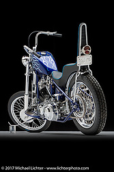 """""""Working Class"""", a blue flamed shovelhead chopper built by Steve Dietzman of Studio Cycles in Milwaukee, WI. Photographed by Michael Lichter in Sturgis, SD on August 3 2017. ©2017 Michael Lichter."""