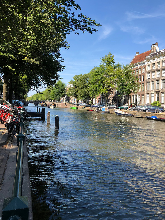 View down canal in Amsterdam