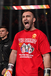 October 21, 2017 - Newark, New Jersey, USA - MURAT GASSIEV enters the ring for his fight against KRZYSZTOF WLODARCZYK at the Prudential Center in Newark, New Jersey. (Credit Image: © Joel Plummer via ZUMA Wire)