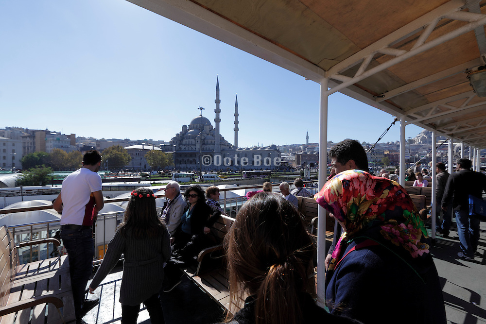 the Yeni Camii seen from on a Bosphorus cruise boat Istanbul