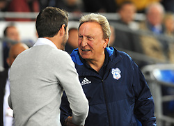 Cardiff City manager Neil Warnock shakes hands with Leeds United manager Thomas Christiansen- Mandatory by-line: Nizaam Jones/JMP - 26/09/2017 -  FOOTBALL - Cardiff City Stadium - Cardiff,Wales -  Cardiff City v Leeds United - Sky Bet Championship