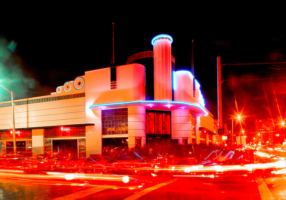 This streamlined. modernist fantasy was originally Hoffmann's Cafeteria, designed by Tropical Deco architect Henry Hohauser in 1939. This image is from the 1990s when Hoffmann's was reborn as The Warsaw Ballroom, one of South Beach's gayest and most torrid nightclubs.