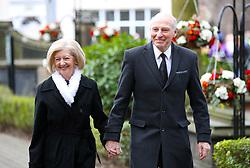 Retired Port Vale Manager John Rudge (right) arrives for the funeral service for Gordon Banks at Stoke Minster.