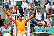 Rafael Nadal of Spain celebrates after his victory against Gael Monfils of France during the Mutua Madrid Open 2018, tennis match on May 9, 2018 played at Caja Magica in Madrid, Spain - Photo Oscar J Barroso / SpainProSportsImages / DPPI / ProSportsImages / DPPI