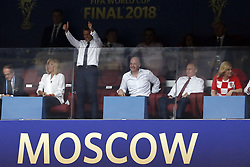 (l-r) France's President Emmanuel Macron, FIFA President Gianni Infantino,Russian President Vladimir Poetin, Croatia's President Kolinda Grabar-Kitarovic during the 2018 FIFA World Cup Russia Final match between France and Croatia at the Luzhniki Stadium on July 15, 2018 in Moscow, Russia
