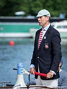 Henley Royal Regatta, 3-7 July 2019. Richard PHELPS, Umpire, Henley Steward, about to start a Race,Royal Henley Peace Regatta Centenary, 1919-2019. Henley on Thames.<br /> <br /> <br /> <br /> [Mandatory Credit: Patrick WHITE/Intersport Images], 5, 05/07/2019,  10:14:56