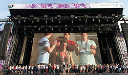 © Licensed to London News Pictures. 11/08/2012. London, UK.  A range of Team GB Olympic medal winning athletes on stage at BT London Live, Hyde Park.  Photo credit : Richard Isaac/LNP