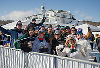 Team Jameson taking a break in the beer tent during Pond Hockey weekend Saturday afternoon.  (Karen Bobotas/for the Laconia Daily Sun)