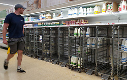 © Licensed to London News Pictures. 03/08/2021. London, UK. A shopper walks past empty trolleys of fresh milk in Sainsbury's, north London. It has been reported that Britain could face a shortage of milk supplies and these are likely to continue for several months, due to a lack of lorry drivers. UK's biggest milk processor, Arla Foods UK, has said that a number of individual stores have missed deliveries due to the pingdemic. Photo credit: Dinendra Haria/LNP