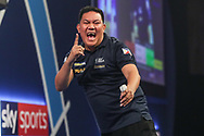 Noel Malicdem wins the match against Jeffrey de Graaf and celebrates during the World Darts Championships 2018 at Alexandra Palace, London, United Kingdom on 19 December 2018.