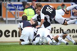 Falkirk cele Ryan Flynn scoring goal.<br /> Falkirk 1 v 0 FC Vaduz, Europa League Qualifying.<br /> ©2009 Michael Schofield. All Rights Reserved.