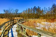 Late winter scene, snow covered boardwalk, UW-Madison Arboretum prairie. Photo taken Feb. 28, 2020.