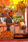 Banana vendor age 30 working hard in Mexico.  Cozumel   Mexico