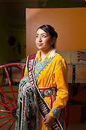 """CLIENT: SMITHSONIAN MAGAZINE<br /> <br /> Alyson Jeri Shirley, 20, from the Navajo Nation's Western Agency, crowned Miss Navajo 2015-2016, poses for a portrait at the Navajo Nation Museum in Window Rock, Arizona. """"I was raised by older Navajo ladies—my grandmother, mother, elders—around ceremonies and squaw dances.  And they taught me this beautiful [Navajo] language when I was a toddler."""""""