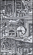 Three devices for ventilating mines with bellows.  In the centre the horse turns the wheel and cams, I,I, work the bellows.  At the top, a horse turns a crown wheel which engages with a lantern on the camshaft and the cams engage with tappets to work the bellows. At the bottom, a man works the bellows by foot.  From 'De re metallica', by Agricola, pseudonym of Georg Bauer (Basle, 1556).  Woodcut.