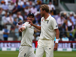August 12, 2018 - London, Greater London, United Kingdom - L-R England's James Anderson and England's Stuart Broad .during International Test Series 2nd Test 4th day  match between England and India at Lords Cricket Ground, London, England on 12 August  2018. (Credit Image: © Action Foto Sport/NurPhoto via ZUMA Press)