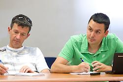 Joze Okorn of Dnevnik and Martin Pavcnik of Sportal at press conference of Slovenian Ski Association, on June 21, 2011, in SZS, Ljubljana, Slovenia. (Photo by Vid Ponikvar / Sportida)
