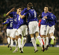 Photo: Dave Howarth.<br /> Everton v Liverpool. The Barclays Premiership. 28/12/2005. Everton players celebrate James Beatie's first half goal