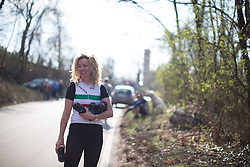 Beth Duryea (Canyon//SRAM Cycling Team) waits for her riders in the feedzone of the Trofeo Alfredo Binda - a 123.3km road race from Gavirate to Cittiglio on March 20, 2016 in Varese, Italy.