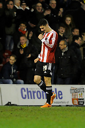 Brentford's Marcello Trotta celebrates his goal. - Photo mandatory by-line: Dougie Allward/JMP - Tel: Mobile: 07966 386802 28/01/2014 - SPORT - FOOTBALL - Griffin Park - Brentford - Brentford v Bristol City - Sky Bet League One