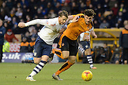 Preston North End striker Joe Garner and Wolverhampton Wanderers defender Danny Batth battle for the ball during the Sky Bet Championship match between Wolverhampton Wanderers and Preston North End at Molineux, Wolverhampton, England on 13 February 2016. Photo by Alan Franklin.