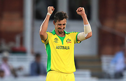 Australia's Mitchell Starc celebrates the final wicket during the ICC Cricket World Cup group stage match at Lord's, London.