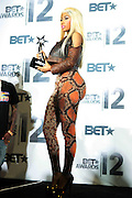 June 30, 2012-Los Angeles, CA : Recording Artist Nicki Minaj attends the 2012 BET Awards- Media Room held at the Shrine Auditorium on July 1, 2012 in Los Angeles. The BET Awards were established in 2001 by the Black Entertainment Television network to celebrate African Americans and other minorities in music, acting, sports, and other fields of entertainment over the past year. The awards are presented annually, and they are broadcast live on BET. (Photo by Terrence Jennings)