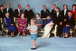 The Royal family including, Lord Spencer, Lady Sarah and Mrs Shand-Kydd at Prince Harry's Christening in December 1984.
