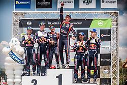 May 20, 2018 - Portugal - Elfyn Evans (GBR) -  Daniel Barritt (GBR) - Ford Fiesta WRC - Thierry Neuville (BEL) Ð Nicolas Gilsoul (BEL) - Hyundai i20 WRC - Teemu Suninen (FIN) - Mikko Markkula (FIN) - Ford Fiesta WRC.podium (Credit Image: © Panoramic via ZUMA Press)