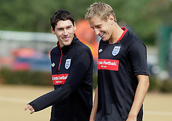09.08.2010. Arsenal Training Ground, London, ENG, Nationalteam England Training, im Bild Michael Dawson (Tottenham Hotspur),  with Gareth Barry (Manchester City), EXPA Pictures © 2010, PhotoCredit: EXPA/ IPS/ Marcello Pozzetti *** ATTENTION ..*** UK AND FRANCE OUT! / SPORTIDA PHOTO AGENCY