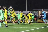 Forest Green Rovers Paul Digby(20) heads the ball towards goal during the The FA Cup 1st round replay match between Forest Green Rovers and Oxford United at the New Lawn, Forest Green, United Kingdom on 20 November 2018.