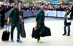 South Africa's JP Pietersen (right) and Eben Etzebeth arrive for the Autumn International match at Twickenham Stadium, London.