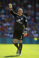 Goalkeeper Brad Guzan of Aston Villa asking for the ball. Barclays Premier league match, Crystal Palace v Aston Villa at Selhurst Park in London on Saturday 22nd August 2015.<br /> pic by John Patrick Fletcher, Andrew Orchard sports photography.