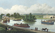 Junction of Regent's Canal at Paddington Basin, London. Hand-coloured engraving after TH Shepherd from 'London and Its Environs in the Nineteenth Century' London 1828