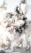 Apotheosis of Saint Stanislaus. Study in pen, ink and wash.  Anton Franz Maulbertsch (1724-1796) Austrian painter.  St Stainislaus of Cracow (1030-1079)  Polish bishop and martyr.