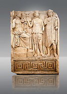 Photo of Roman releif sculpture of Tree Graces from the South Building, Second storey, Aphrodisias, Turkey, Images of Roman art bas releifs. Buy as stock or photo art prints. Apollo sits on his raised platform with his tripod at his oracular shrine. He is approached by 2 figures one with the flat diadem of a king who have come to consult him. Cut Out .<br /> <br /> If you prefer to buy from our ALAMY STOCK LIBRARY page at https://www.alamy.com/portfolio/paul-williams-funkystock/greco-roman-sculptures.html . Type -    Aphrodisias     - into LOWER SEARCH WITHIN GALLERY box - Refine search by adding a subject, place, background colour, museum etc.<br /> <br /> Visit our ROMAN WORLD PHOTO COLLECTIONS for more photos to download or buy as wall art prints https://funkystock.photoshelter.com/gallery-collection/The-Romans-Art-Artefacts-Antiquities-Historic-Sites-Pictures-Images/C0000r2uLJJo9_s0