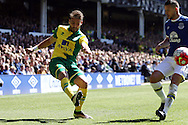 Ivo Pinto of Norwich City gets his cross in. Barclays Premier League match, Everton v Norwich City at Goodison Park in Liverpool on Sunday 15th May 2016.<br /> pic by Chris Stading, Andrew Orchard sports photography.