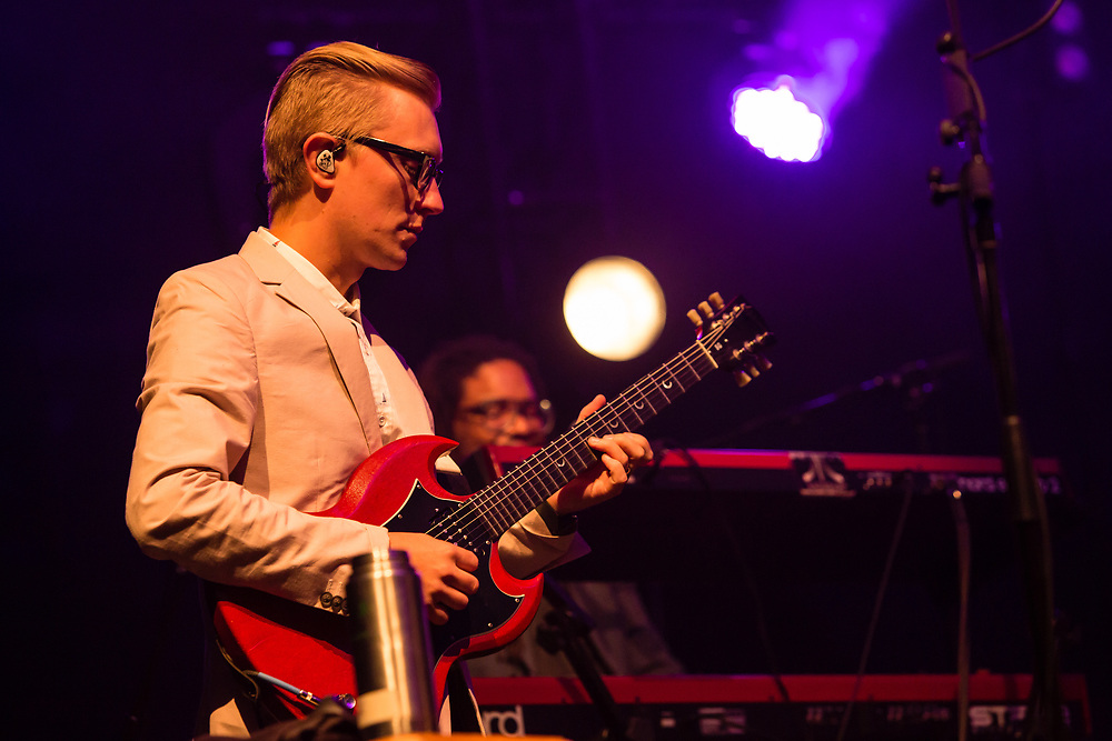 """Brooklyn, NY – 7 June 2017. Brooklyn-based Lake Street Dive opened the 2017 season of the BRIC Celebrate Brooklyn! Festival at the Prospect Park Bandshell to a packed venue. On stage are Mike """"McDuck"""" Olson on guitar and guest keyboardist Akie Bermiss."""