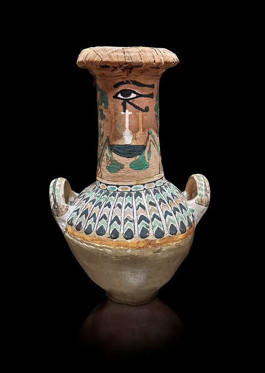 Ancient Egyptian  decorated jar sealed with linen , tomb of Kha, Theban Tomb 8 , mid-18th dynasty (1550 to 1292 BC), Turin Egyptian Museum.  Black background,<br /> <br /> TT8 or Theban Tomb 8 was the tomb of Kha, the overseer of works from Deir el-Medina in the mid-18th dynasty[2] and his wife, Merit. TT8 was one of the greatest archaeological discoveries of ancient Egypt, one of few tombs of nobility to survive intact. .<br /> <br /> If you prefer to buy from our ALAMY PHOTO LIBRARY  Collection visit : https://www.alamy.com/portfolio/paul-williams-funkystock/ancient-egyptian-art-artefacts.html  . Type -   Turin   - into the LOWER SEARCH WITHIN GALLERY box. Refine search by adding background colour, subject etc<br /> <br /> Visit our ANCIENT WORLD PHOTO COLLECTIONS for more photos to download or buy as wall art prints https://funkystock.photoshelter.com/gallery-collection/Ancient-World-Art-Antiquities-Historic-Sites-Pictures-Images-of/C00006u26yqSkDOM