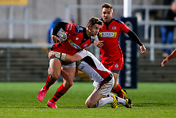 Bristol Rugby Winger George Watkins is tackled by Ulster Ravens Outside Centre Callum Patterson - Mandatory byline: Rogan Thomson/JMP - 13/11/2015 - RUGBY UNION - Kingspan Stadium - Belfast, Northern Ireland - Ulster Ravens v Bristol Rugby - The British & Irish Cup Pool 2.