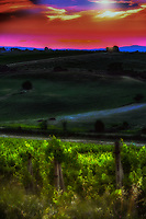 """""""Mystical sunset over an ancient Tuscan farm along the Val d'Orcia""""...<br /> <br /> A late afternoon excursion from Cortona led me to the medieval town of Montepulciano, which stands on an ancient walled hilltop in southern Tuscany, not far from Siena. Within its ramparts are elegant Renaissance palaces, ancient churches, charming squares, hidden corners, and vast panoramas of the famous vineyard valleys of the Val d'Orcia. Montepulciano has received great attention following the filming of the sequel Twilight - New Moon. I would love to spend more time in the picturesque town, and will include a longer stay in my return to Italy. Montepulciano is famous for not just one but two excellent wines, Vino Nobile di Montepulciano and Rosso di Montepulciano. However, it is often underestimated in terms of the interest of its art and architecture, perhaps because of its small size. One of the many promises I made to myself upon my return home was to drink a glass of my favorite Italian wine nightly, and without doubt...Montepulciano is my favorite wine region. This image was made of the dramatic sunset along the Val d'Orcia on the ride back to Cortona. Unfortunately, this image is one of very few from this famous scenic Tuscan countryside, but I pray and aspire for many more."""