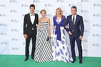 Novak Djokovic; Jelena Ristic; Dijana and Srdjan Djokovic, Novak Djokovic Foundation London gala dinner, The Roundhouse London UK, 08 July 2013, (Photo by Richard Goldschmidt)