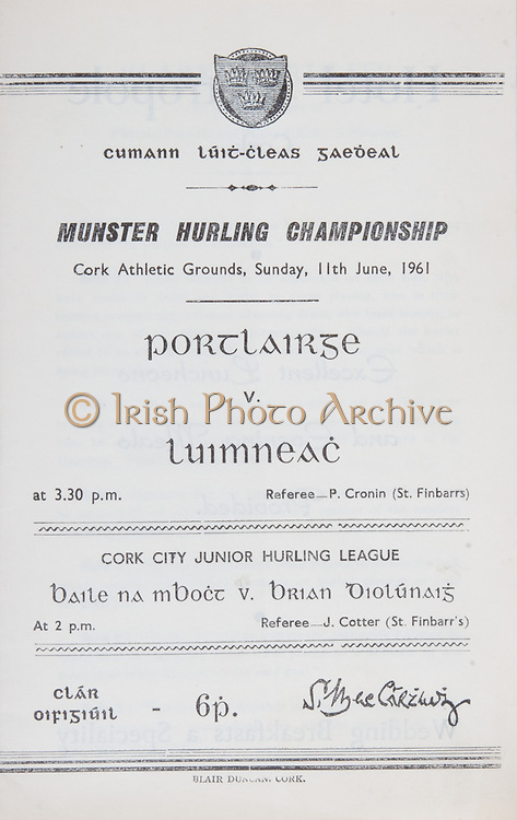 Munster Senior Hurling Championship .Waterford vs Limerick.Cork Athletic Grounds.Sunday 11th June 1961.11.06.1961