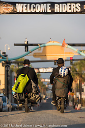 Bean're and his riding partner Tim Bacon Ford leaving from Daytona Beach for their cross-country record breaking adventure during Daytona Beach Bike Week. FL. USA. Sunday March 19, 2017. Photography ©2017 Michael Lichter.