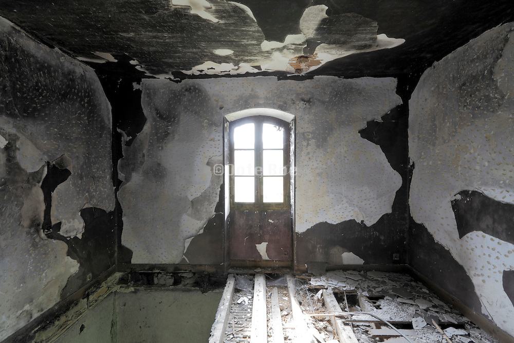 burned out upper room in a house