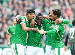 14.02.2015, Weserstadion, Bremen, GER, 1. FBL, SV Werder Bremen vs FC Augsburg, 21. Runde, im Bild Jubel um Assani Lukimya (SV Werder Bremen #5), zweiter von links, nach dessen Kopfballtreffer zum 1:0, hier mit, von links, Davie Selke (SV Werder Bremen #27), Theodor Gebre Selassie (SV Werder Bremen #23) und Santiago Garcia (SV Werder Bremen #2) // during the German Bundesliga 21th round match between SV Werder Bremen and FC Augsburg at the Weserstadion in Bremen, Germany on 2015/02/14. EXPA Pictures © 2015, PhotoCredit: EXPA/ Andreas Gumz<br /> <br /> *****ATTENTION - OUT of GER*****