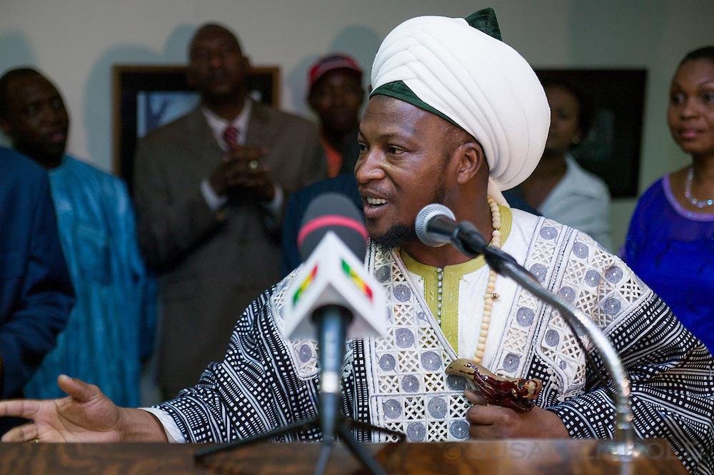 Imam Konate speaking at a gathering for the Malian Ambassador to the UN.